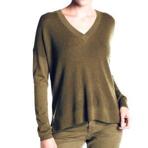 J Crew Olive Green V Neck Pullover Sweater
